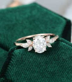 Oval Moissanite engagement ring vintage Unique Marquise cut diamond Cluster ring Rose gold engagemen