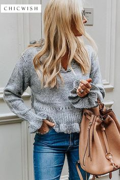 Knit a Chance V-Neck Frilling Sweater in Grey - Sweaters - TOPS - Retro, Indie and Unique Fashion Loose Waves Hair, Led Dress, Photography For Beginners, Cactus Flower, Cactus Plants, Korean Street Fashion, Unique Fashion, Bohemian Fashion, Fashion Ideas