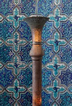 Detail of a floor lamp, Egypt or Syria, late nineteenth century. Copper alloy and star and cross tiles, Iran, late nineteenth century at at Doris Duke's Shangri La estate in Hawaii
