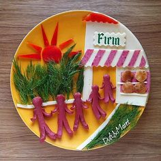 Fun with Fruit's and Salad's Plates by Dufi. |FunPal Studio| Art Artist Artwork Entertainment, Beautiful Creativity Food art Fruits Salads Illustration