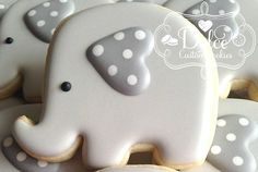 Elephant Baby Shower Cookies by DolceCustomCookies on Etsy