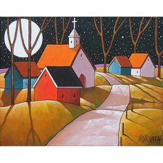 PAINTING ORIGINAL Folk Art Moon Town Church by SoloWorkStudio, $225.00