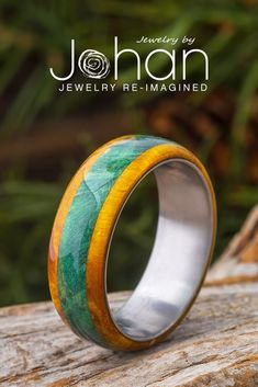 Ring wood amber green black oak