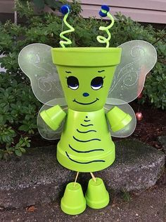 Large Butterfly Planter Flower Pot People Garden Decoration Deck Handpainted terra-cotta clay pot people Yard Decor by GARDENFRIENDSNJ on Etsy www. Flower Pot Art, Clay Flower Pots, Flower Pot Crafts, Flower Planters, Flower Gardening, Clay Pot Projects, Clay Pot Crafts, Diy Clay, Shell Crafts