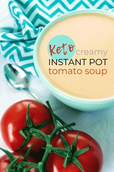 Easy, creamy, warm comfort in a bowl is how I would describe this keto creamy tomato soup! Fresh tomatoes are blended with a bit of onion, garlic, no salt seasoning, butter, cream, and a few other simple ingredients. The soup is then cooked in the pressure cooker till it's piping hot, delicious, and ready to be devoured! Keen for Keto | keto tomato soup | keto dinner Vegetarian Breakfast Recipes, Diet Soup Recipes, Chowder Recipes, Vegan Recipes, Keto Soup, Chili Recipes, Lunch Recipes, Dinner Recipes, Keto Side Dishes