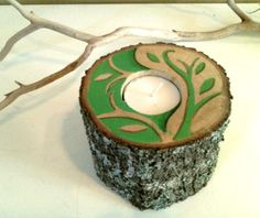 ORIGINAL design  Tree branch candle  Painted tree by JTLCREATIONS, $20.00