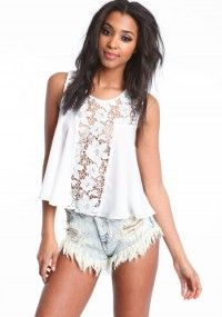 Floral Crochet lace front top with washed out, faded, frayed blue jean shorts