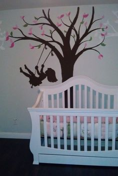 This Silhouette Swing wall mural looks adorable with pink and green leaves. Beautiful little girl room decor!