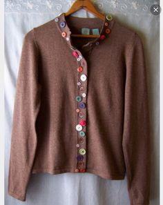 """Hwr Monogram Anthropologie """"botón Frasco"""" suéter cárdigan Knit Top L Rara De Encontrar!"""
