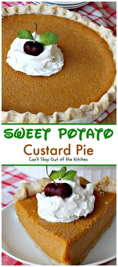 Sweet Potato Custard Pie is to die for! It's the most spectacular sweet potato pie ever! This one has marshmallow creme and almond extract in the filling. Strawberry Cream Pies, Strawberries And Cream, Pie Recipes, Dessert Recipes, Desserts, Flan, Scones, Kentucky Derby Pie, Brownies