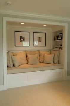 65 Wonderfully cozy reading nooks for book lovers is part of Living Room DIY Reading Nooks - Designing a reading nook in your home can be the perfect way to transform an awkward or unused space into a cozy reading nook to curl up in Reading Nook Closet, Closet Nook, Closet Library, Closet Into Office, Spare Room Closet, Closet Space, Library Bar, Closet Redo, Bed In Closet