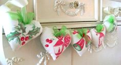 Christmas Heart Garland / Heart Banner / Vintage by DoesMeadow, $18.00