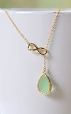 Mint Teadrop and Gold Infinity Lariat Necklace.  Lariat Necklace.  Mint Necklace. Gift for Her. Bridesmaid Jewelry. Modern Necklace.