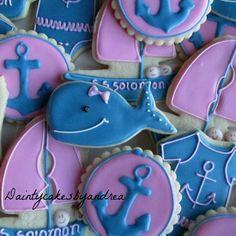 1 dozen girly nautical baby shower cookies $24 dozen | Etsy