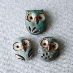 Owls. Clay. ( buttons or component piece ) kylie parry studios