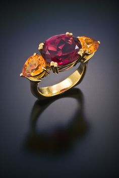 Cynthia Renee Collection Red Tourmaline and Spessartine Garnet Ring.