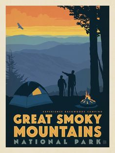 Anderson Design Group – American National Parks – Great Smoky Mountains National Park: Back Country Camping American National Parks, National Parks Map, National Park Posters, Carlsbad Caverns National Park, Smoky Mountain National Park, Great Smoky Mountains, Vintage Travel Posters, Art Plastique, Illustrations