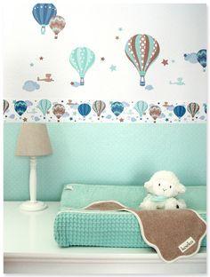Elegant Hei luftballons Boys taupe mint Selbstklebende Kinderzimmer Bord re Wandsticker passende Punktetapete in mint