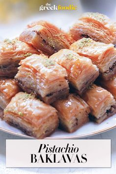 Impossible-to-resist pistachio baklava with phyllo pastry, syrup, and pistachios is a sweet Mediterranean dessert that everyone loves. #baklava #syrupydessert #greekdesserts #pistachiobaklava via @The Greek Foodie Pastry Recipes, Dessert Recipes, Delicious Desserts, Easy Dinner Recipes, Breakfast Recipes, Easy Meals, Pistachio Baklava Recipe, Mediterranean Desserts, Indian Food Recipes