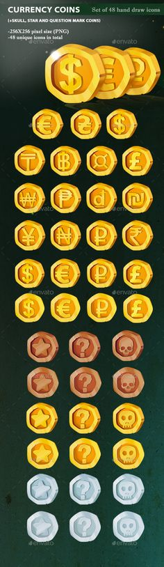 Currency Coins - #Miscellaneous #Game Assets Download here: https://graphicriver.net/item/currency-coins/19755769?ref=alena994