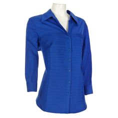 Add casual class to your look with this crisp button-front blouse. Shutter pleats on the front and knit side panels create a flattering silhouette. 3/4 length sleeves with roll-back cuffs.