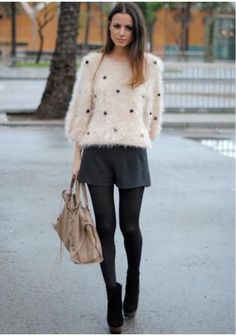 What to Wear with a Fluffy Sweater Love this style! Daily Fashion, Love Fashion, Girl Fashion, Fashion Looks, Fashion Outfits, Womens Fashion, Fashion Tips, Fluffy Sweater, Autumn Winter Fashion