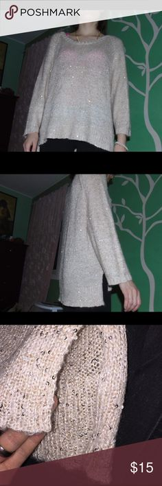 """Sequined Knit Sweater My boyfriend and I are going to call the color of this shirt """"bink"""" because it's like a beigey pink color, but also looks like it could have some gold in it. Sequins all over it. Goes a bit lower in the back, and has slits on both sides. Size large but i'm usually a small, so it could be for anybody really. 53% polyester, 19% viscose, 15% acrylic, etc. H&M Sweaters"""