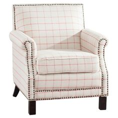 Tattersall arm chair with linen upholstery and nailhead trim.   Product: ChairConstruction Material: Birch wood, pl...