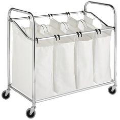 Whitmor Chrome 4-section Laundry Sorter - Overstock™ Shopping - Great Deals on Hampers