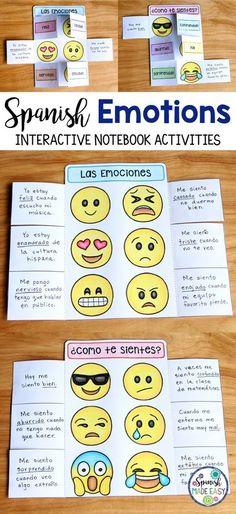 Spanish Emotions interactive notebook activity. Middle School Spanish, Elementary Spanish, Spanish Classroom, Spanish Teacher, Spanish Teaching Resources, Spanish Activities, Spanish Language Learning, Spanish Interactive Notebook, Interactive Notebooks