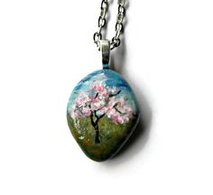 """APPLE BLOSSOM TREE Necklace Hand Painted Stone Rock Pendant Spring Silver  24"""" Ball Chain Necklace"""