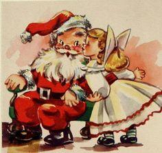 Giving Santa a kiss
