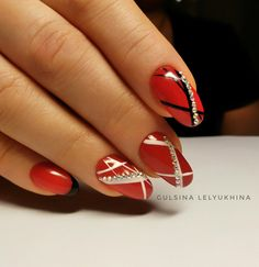 14th February nails, Abstract nail art, Manicure 2018, Manicure on the day of lovers, Nails ideas 2018, Nails trends 2018, Nails with rhinestones, Painted nail designs
