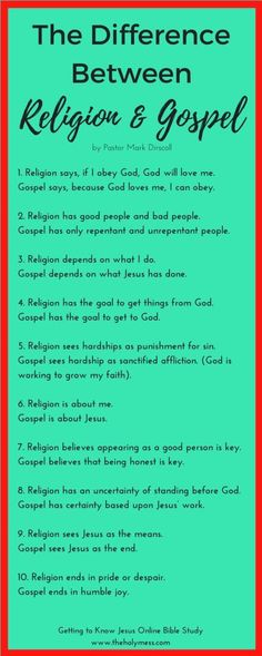 Is there a difference between religion and the Gospel? Learn the answer plus other insights from the Bible study Getting to Know Jesus. Christian Faith, Christian Quotes, Christian Living, Faith Quotes, Bible Quotes, Bibel Journal, Bible Knowledge, Bible Truth, God Loves Me