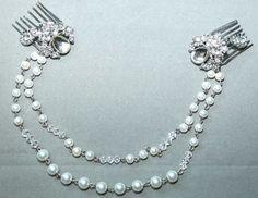 Pearl Chain Brooch,Pearl Chain Hair Comb,Bridal Crystal Comb,Wedding Hair Brooch,Bride Hair Comb,Hair Chain Comb,Shoulder Rhinestone Brooch