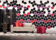 Who said acoustic solutions and art don't mix? ❤️🧡💜🖤 This intricate design created using our EchoPanel Geometry Tiles creates a visually energizing feature wall that hides acoustics in plain sight. Acoustic Baffles, Acoustic Wall Panels, Geometric Tiles, Tile Installation, Wall Patterns, Commercial Interiors, Tile Design, Wall Tiles, Interior Design