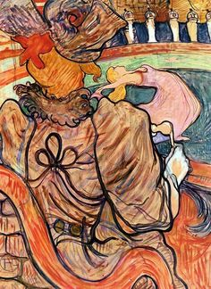 At the Nouveau Cirque: The Dancer and Five Stuffed Shirts - Henri de Toulouse-Lautrec