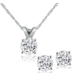 Diamond Solitaire Necklace & Studs Earrings Set 3/4 Carat 14K White Gold