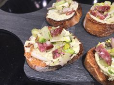 Bruschetta with Parmesan  Garlic Herb Butter • 1 Baguette • 1 Clove of Garlic •  1 container Parmesan Garlic Herb Butter •  2 Fennel Bulbs •  5 Celery Stalks •  1 Red Onion •  4 oz Salami, julienned  •  4 oz Mild Provolone, julienned •  1 large Lemon,squeezed •  1/4 cup Extra-Virgin Oil •  1/2 teaspoon  Salt •  Ground Black Pepper