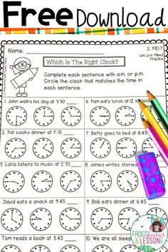 Free Second Grade Math Practice Worksheets Telling Time Activities, Teaching Time, Teaching Math, Math Activities, Telling Time Games, Telling Time Worksheet, Math Games, Fraction Activities, Teaching Geography