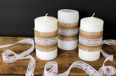 Here comes another wedding post - although in reality you don't have to be getting married to create these shabby chic Simple Burlap and Lace Candles. Using white candles Burlap Candles, Diy Candles, Pillar Candles, White Candles, Twine Crafts, Diy Crafts For Gifts, Creation Bougie, Wedding Cake Boxes, Baptism Candle