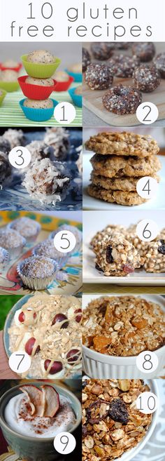 10 Gluten Free Recipes [by number]  1. Orange Coconut Power Balls  2. Raw Brownie Chews  3. Healthy Coconut Pecan Pie Bites  4. Gluten Free Chocolate Chip Cookies  5. Coconut Peanut Butter Balls  6. Bird Food Balls  7. Apricot Coconut Granola   8. Overnight Oats  9. Homemade Dried Apples  10. Pistachio Cherry Granola