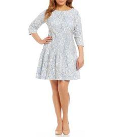 Eliza J Plus 3/4 Sleeve Lace Fit-and-Flare Dress | Dillards