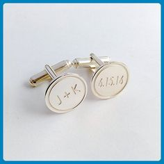 eab34f5fce33 Personalized Wedding Cufflinks for Groom Date and Initials - Groom cufflinks  and tie clips (*