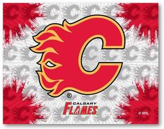 Calgary Flames NHL D1 Printed Logo Canvas. Visit SportsFansPlus.com for details.