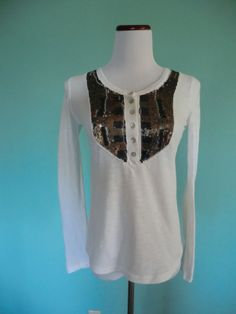 NWT FREE PEOPLE SNOW WHITE SEQUINED LONG SLEEVE LAGENLOOK STYLE TUNIC TOP XS-S