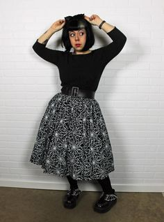 "Spiderweb pinup skirt by Pinup Girl Clothing - an OOTD on Betties N Brimstone blog - ""What I Wore: Spiderwebs and Bats"" - be sure to share/re-pin for fashion inspiration/reference!"