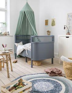 Sebra Juno Cot Bed in Forest Lake Blue Danish Interior Design, Interior Design Companies, Cot Bedding, Kili, Large Furniture, Kid Beds, Bassinet, Baby Room, Child Room