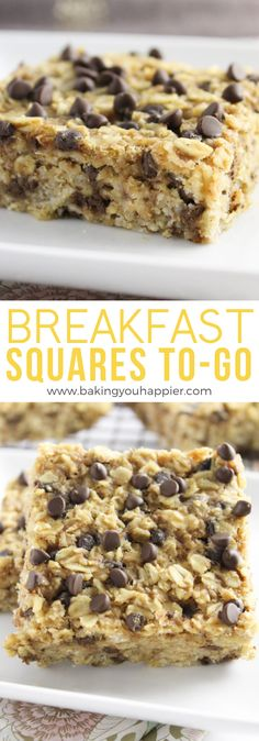 Easy Chocolate Chip Oatmeal Breakfast Squares Easy Chocolate Chip Oatmeal Breakfast Squares, a healthy breakfast to go for the whole family! A freezer friendly breakfast that works great for meal prep! Good Healthy Recipes, Healthy Breakfast Recipes, Gourmet Recipes, Cookie Recipes, Dessert Recipes, Healthy Meals, Healthy Breakfast Cookies, Oatmeal Breakfast Bars Healthy, Eat Healthy