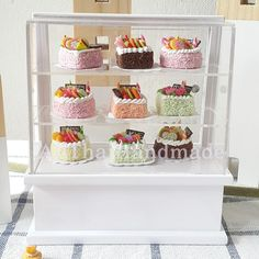 Cake in White Wooden Cabinet Showcase Dollhouse Miniature Food Bakery Supply Cake Shop Design, Design Café, Bakery Design, Cafe Design, Cake Shop Interior, Bakery Interior, Bakery Store, Bakery Display, Cupcake Shops